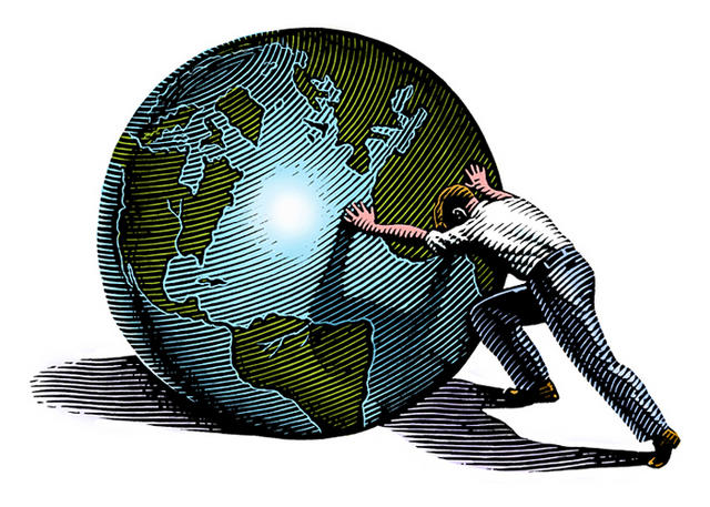 Man Pushing Globe