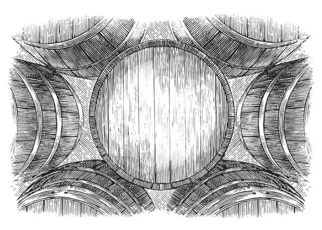 Stacked Barrels-Woodcut