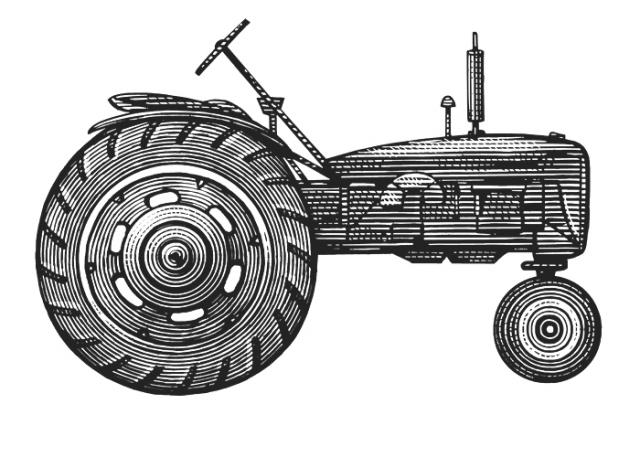 Tractor Woodcut
