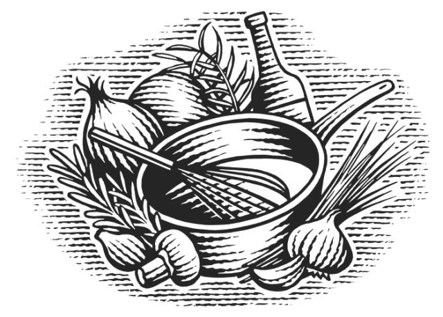 Cooking Pot-Whisk-Woodcut-