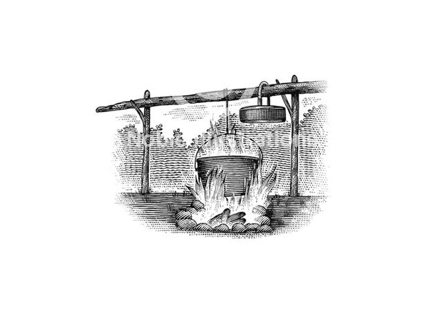 Steven Noble Illustrations Cooking Campfire Woodcut